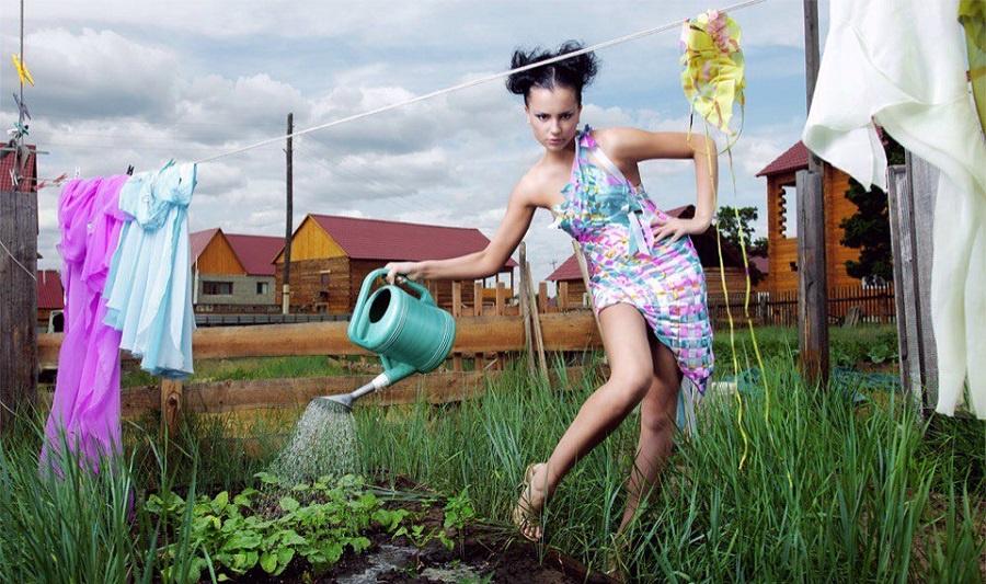 уборка газона на даче