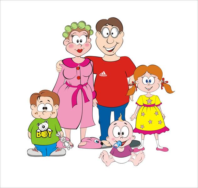 Рисунки семья прикольные, открытка днем рождения