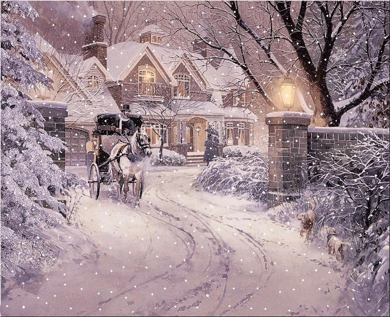 С снегопадом открытки